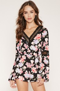 black flower romper
