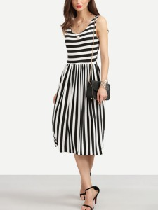 black-white-mixed-stripe-pleated-dress