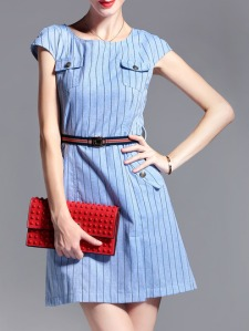 blue-belted-striped-pockets-a-line-dress