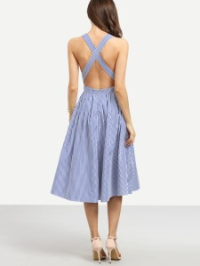 blue-striped-sleeveless-criss-cross-back-dress