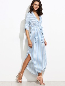 contrast-vertical-striped-self-tie-shirt-dress