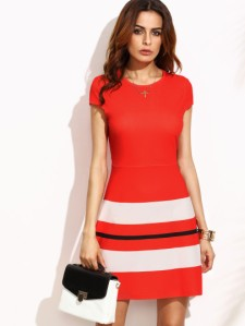 red-striped-print-cap-sleeve-a-line-dress