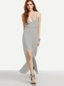 striped-deep-plunge-neck-open-back-split-dress